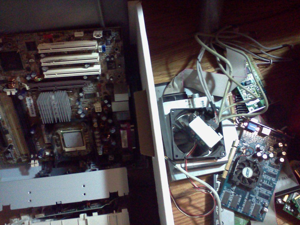 boxes of scrap computer parts