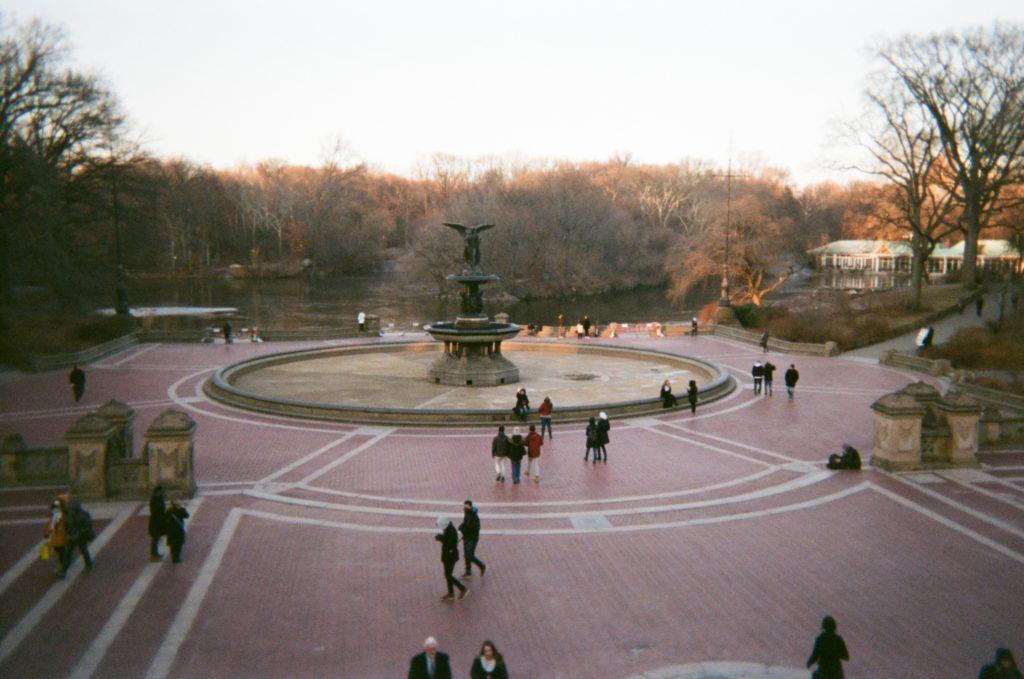 bleak central park fountain