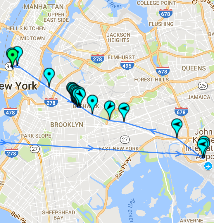 map - airport to airbnb to manhattan