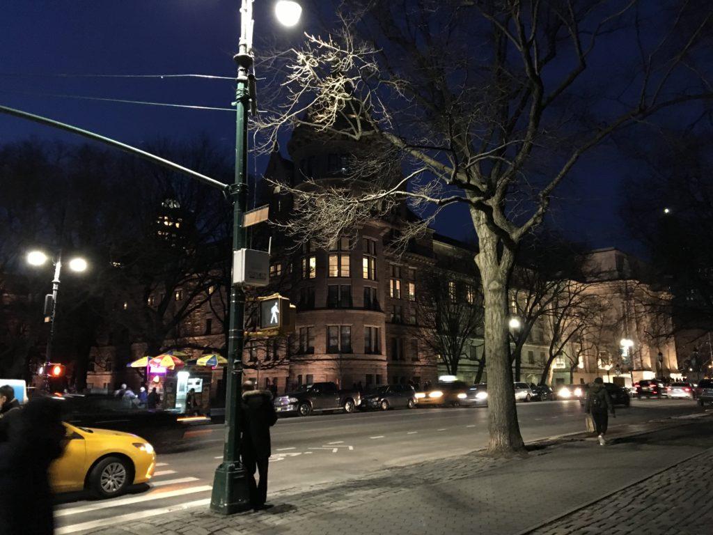 night walking along central park