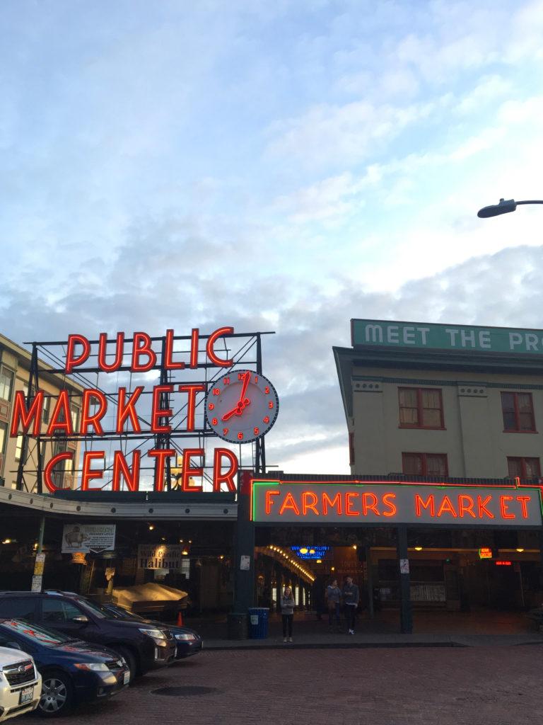 farmers market public market center sign