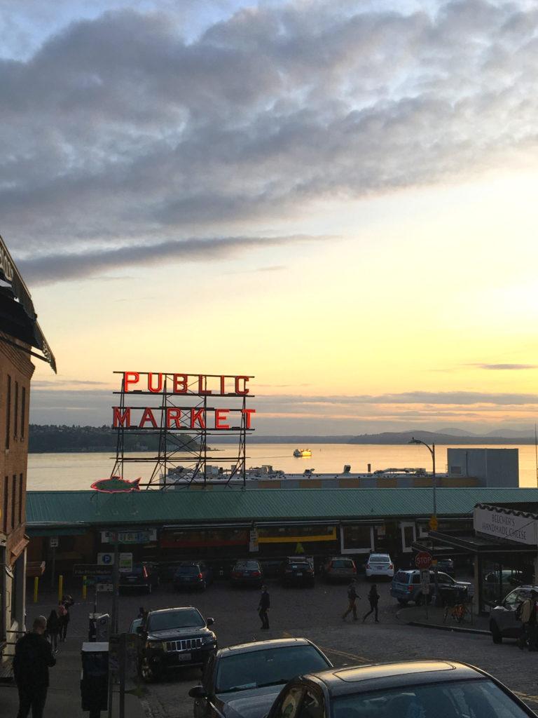 sunset at public market seattle