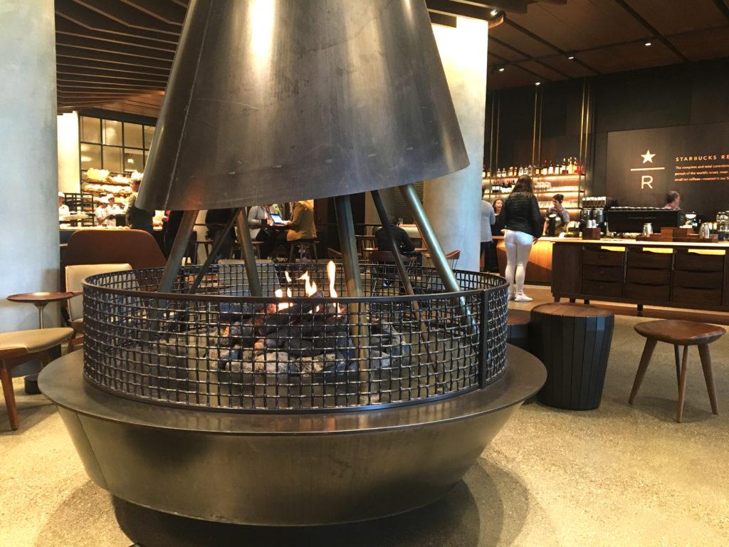starbucks reserve sodo fireplace inside