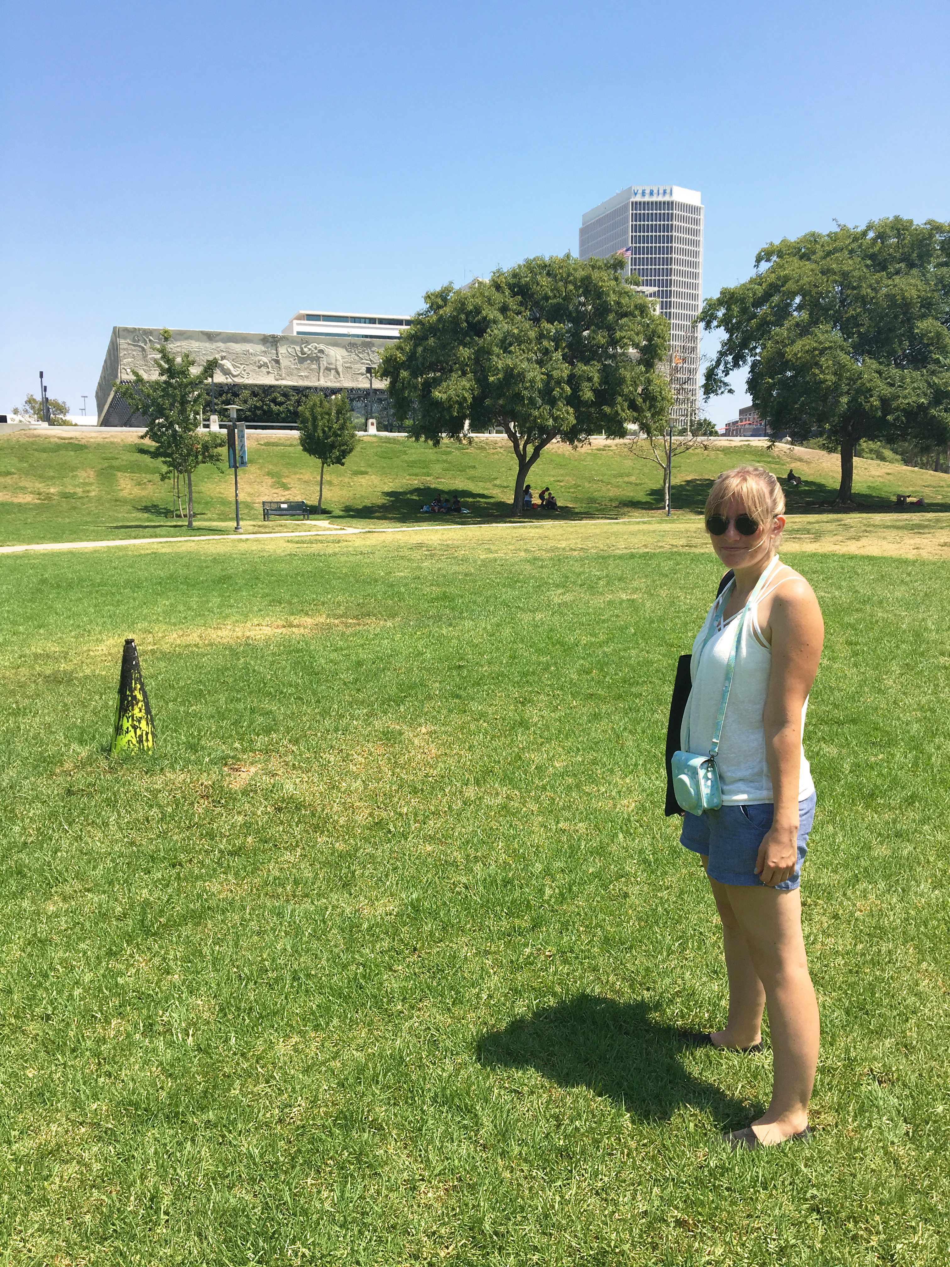 andria in front of la brea tar pits museum