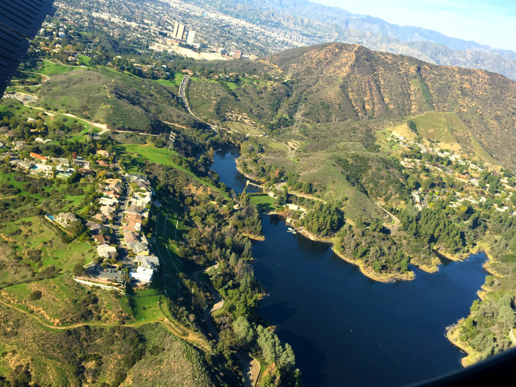 flying over lake hollywood and parks
